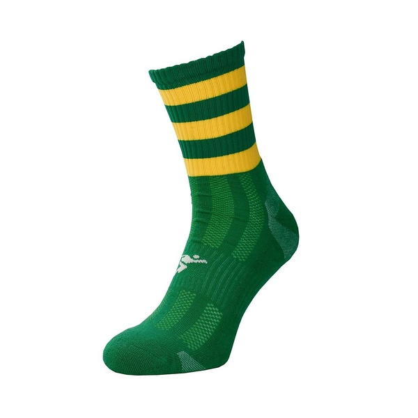 Precision Pro Hooped GAA Mid Socks Junior Green/Gold - UK Size 3-6
