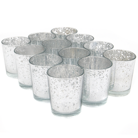 Set of 12 Speckled Tealight Candle Holders | M&W Silver