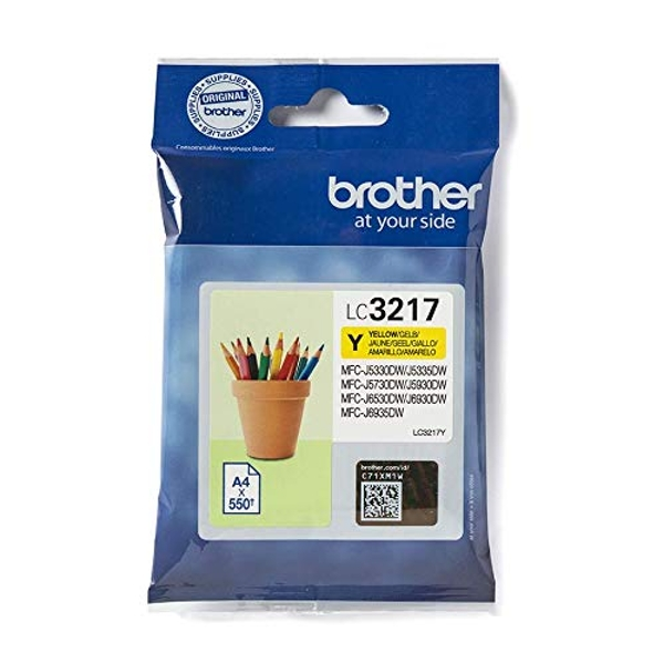 Brother LC-3217Y Inkjet Cartridge, Yellow, Single Pack, Standard Yield, Includes 1 x Inkjet Cartridge, Brother Genuine Supplies