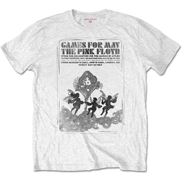 Pink Floyd - Games For May B&W Unisex Large T-Shirt - White