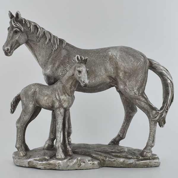 Antique Silver Mare and Foal Family Scene Ornament