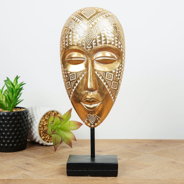 Ornate Gold Finish African Mask on Stand Sculpture