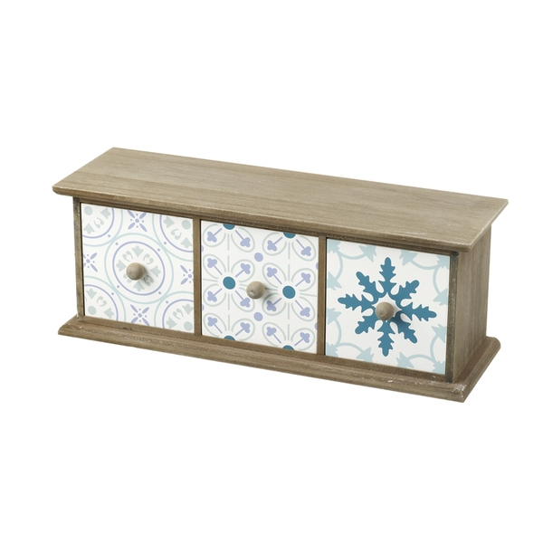 Art Deco Patterned Small Wooden Triple Drawers Set By Heaven Sends