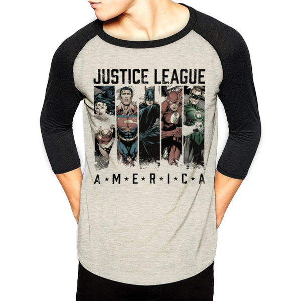 Justice League - America Men's Small Baseball T-Shirt - White