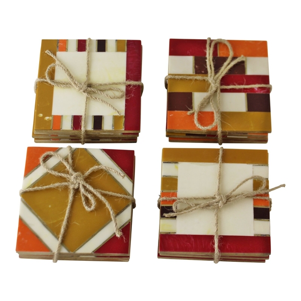 Set Of 4 Moroccan Inspired, Geometric Patterned Coasters