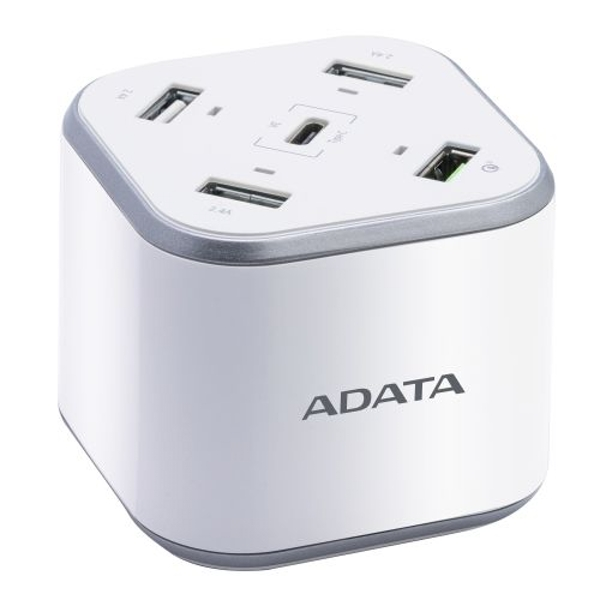 ADATA USB Charging Station - 3 x USB-A 1 x USB-C 1 x Qualcomm Quick Charge USB-A UK Plug