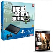 500GB Super Slim Console with Grand Theft Auto V + Last Of Us Game PS3
