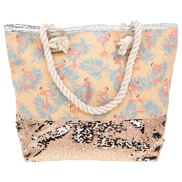 Flamingo Gold Sequins Tote Bag