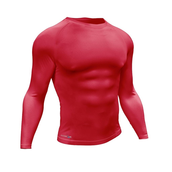 """Precision Essential Baselayer Long Sleeve Shirt Adult Small 34-36"""" Red"""