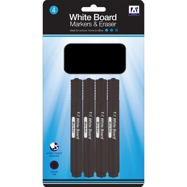 A Star Whiteboard Markers With Eraser Pack 4