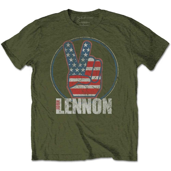 John Lennon - Peace Fingers US Flag Unisex Small T-Shirt - Green