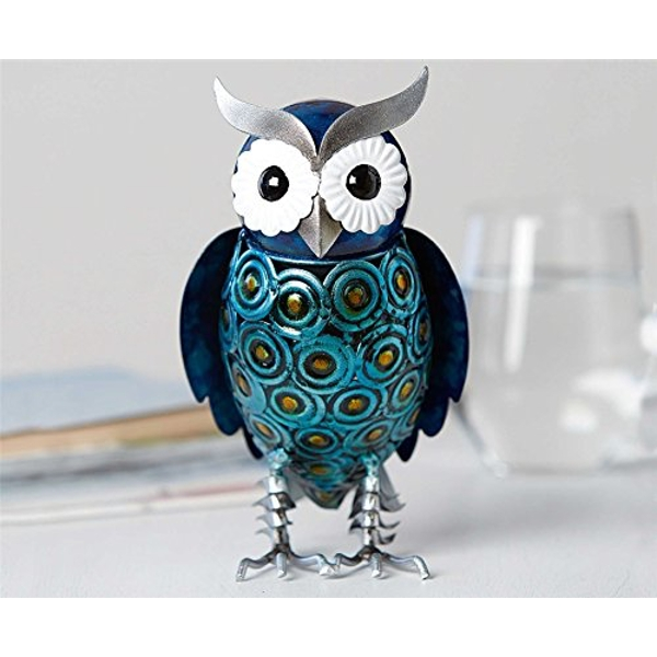 Country Living Hand Painted Metal Blue Owl 20cm