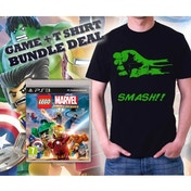 Lego Marvel Super Heroes Game + Hulk Smash Black T-Shirt Large PS3