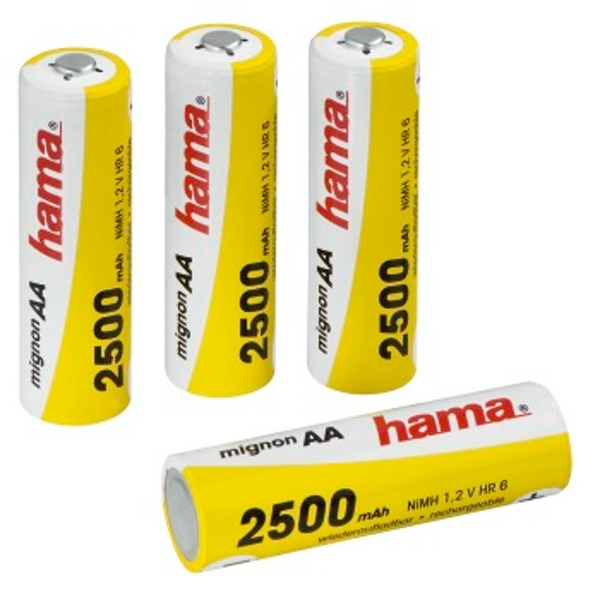 Hama Rechargeable NiHH Batteries, 4x AA (Mignon - HR 6) 2500 mAh/1.2 V
