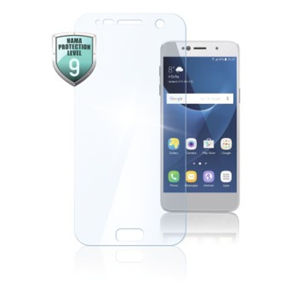 Hama Premium Crystal Glass Screen Protector (for Samsung Galaxy J4+/J6+, Tempered Glass, Protection Class 9, Type of Tempered Glass, 10H) Transparent