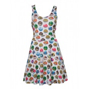Pokemon Woman's All-over Pokeball Printed Sleeveless X-Large Dress - Grey