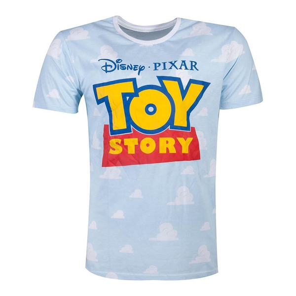 Disney - Logo With All-Over Cloud Men's Small T-Shirt - Blue