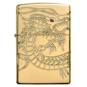 Zippo Unisex Armor Chinese Dragon Windproof Pocket Lighter High Polish Gold Plate