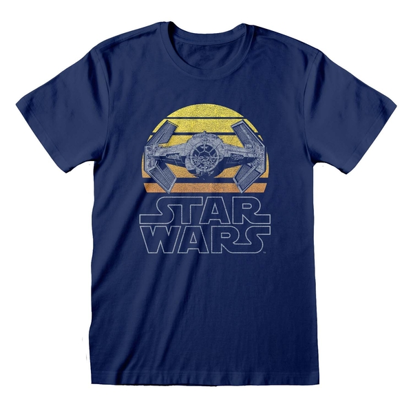 Star Wars - Tie Fighter Moon Unisex Large T-Shirt - Blue