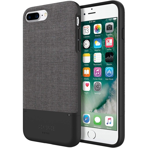 Jack Spade Credit Card Case for Apple iPhone 7 Plus - Tech Oxford Gray/Black