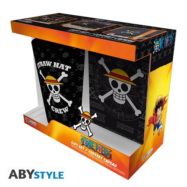 One Piece - Skull Glass/Pin/Pocket Notebook Gift Set