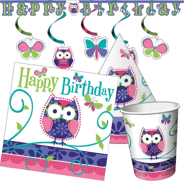 Owl Jointed Happy Birthday Banner