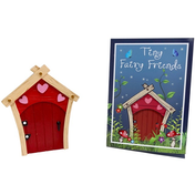 Red Fairy Door With Pink Hearts