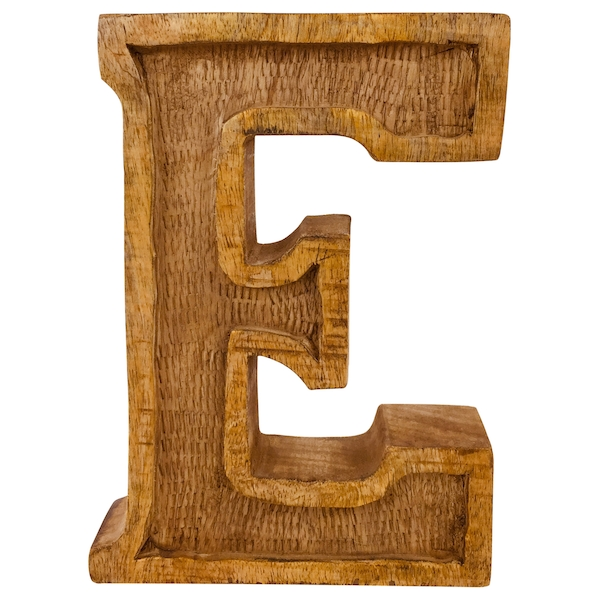 Letter E Hand Carved Wooden Embossed