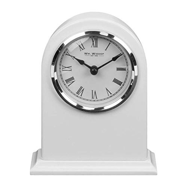 High Gloss White Arched Mantel Clock