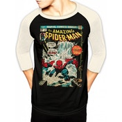 Spider-man - Comic Cover Men's Large Baseball Shirt - Black
