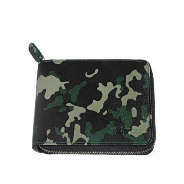 Zippo Green Camouflage Leather Zipper Wallet (12 x 10.5 x 2cm)