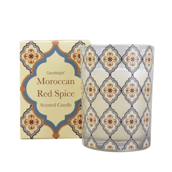 Moroccan Red Spice wax Filled Pot Candle in Gift Box Red Cinnamon Scent