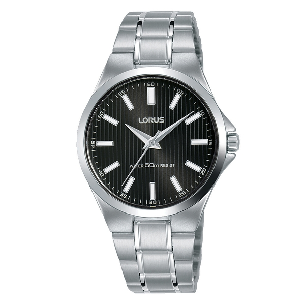 Lorus RG229PX9 Ladies Stainless Steel Bracelet Watch with Black Sunray Dial