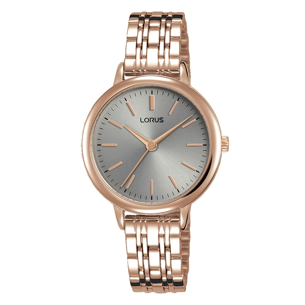 Lorus RG296PX9 Ladies Rose Gold Bracelet Watch with Soft Grey Dial