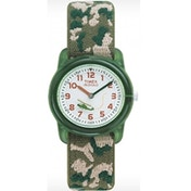 Timex Kids Children's Quartz Watch with White Dial Analogue Display and Green Textile Strap T78141