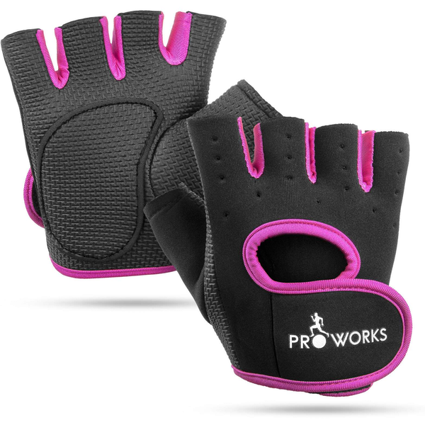 Proworks Women's Padded Grip Fingerless Gym Gloves Black/Pink - Small