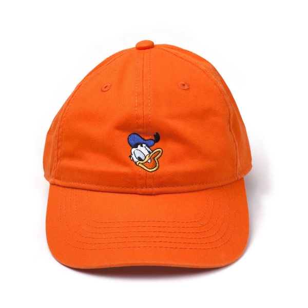 Disney - Embroidered Donald Duck Face Unisex Comfortable Fitting Cap - Orange
