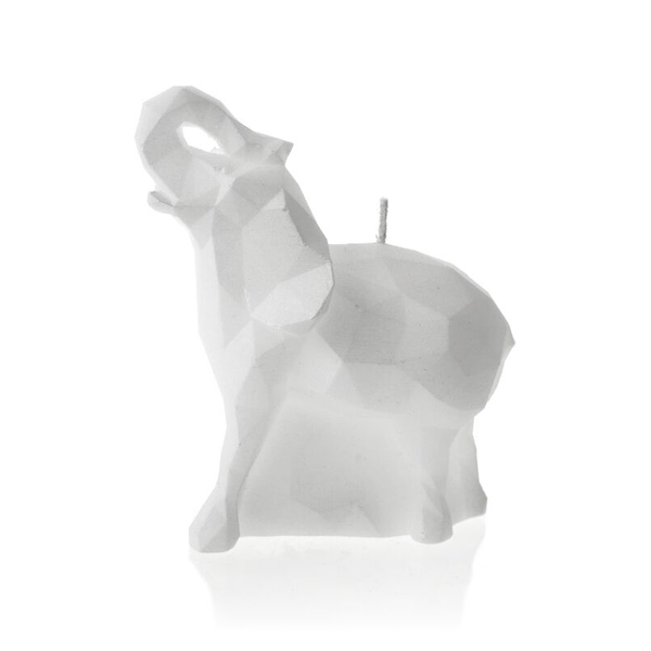 White Medium Elephant Candle