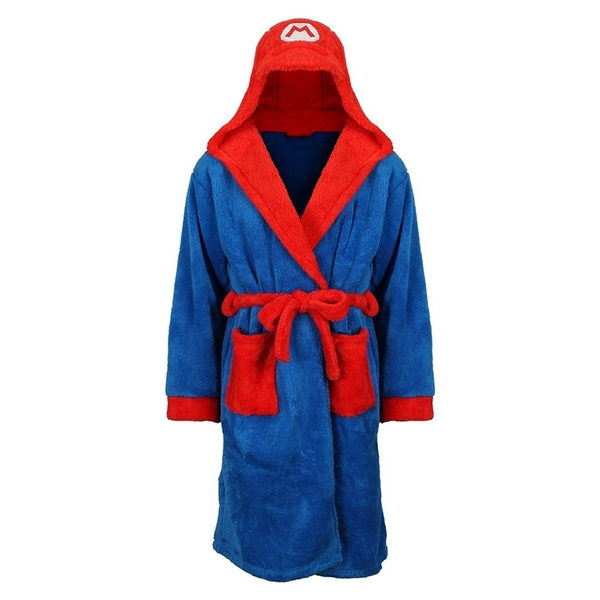 Nintendo Super Mario Bros. Men's Small/Medium Mario Bath Robe with Hood - Blue/Red