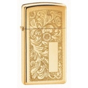 Zippo Slim Venetian High Polished Brass Lighter