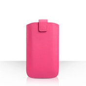 Caseflex Leather-Effect Auto Return Pull Tab Pouch (M) - Hot Pink