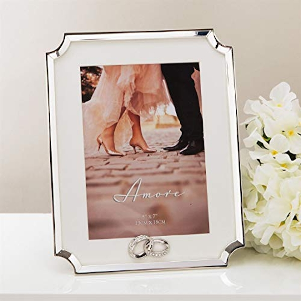 """5"""" x 7"""" - AMORE BY JULIANA? Silver Scalloped Corner Frame"""
