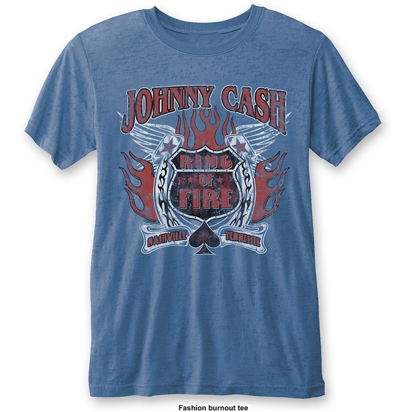 Johnny Cash - Ring of Fire Unisex X-Large T-Shirt - Blue