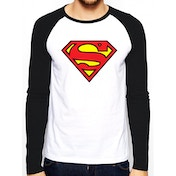 Superman - Logo Men's Large Baseball Shirt - White