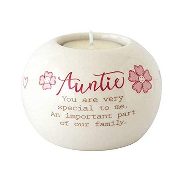 Said with sentiment Ceramic Tealight Candle Holder - Auntie
