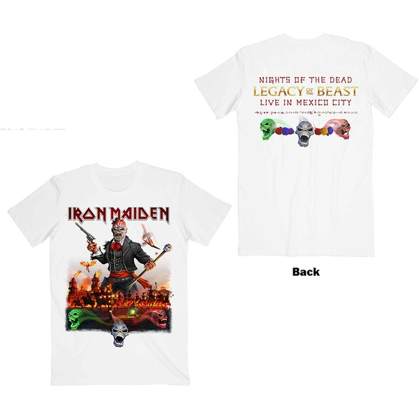 Iron Maiden - Legacy of the Beast Live In Mexico City Unisex Large T-Shirt - White