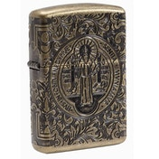 Zippo St Benedict Medal Antique Brass Finish Windproof Lighter