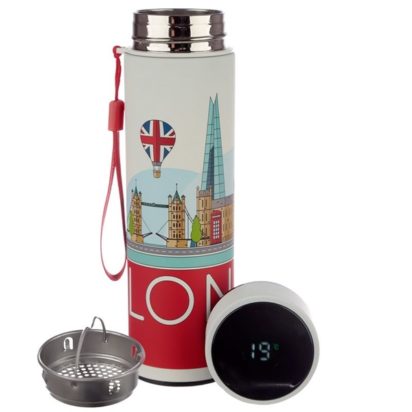 London Icons Reusable Stainless Steel Hot & Cold Thermal Insulated Drinks Bottle with Digital Thermometer