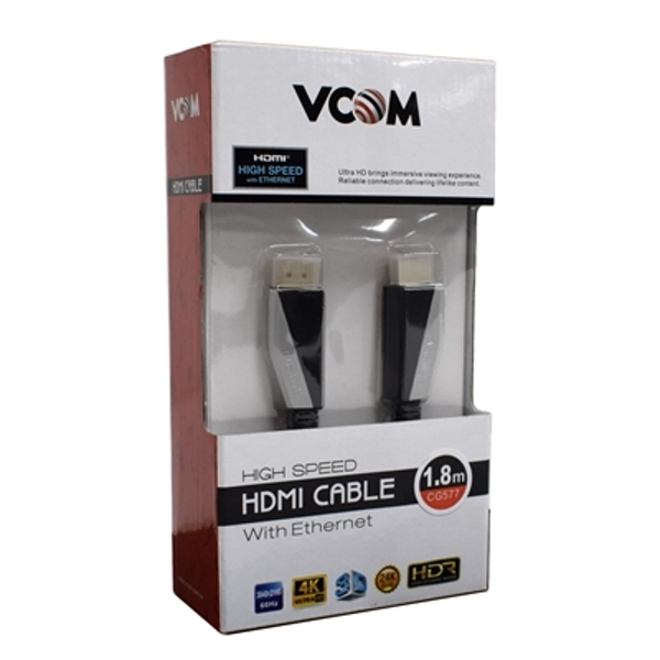 VCOM HDMI 2.0 (M) to HDMI 2.0 (M) 1.8m Black Premium Ultra HD 4K Supported Retail Packaged Display Cable