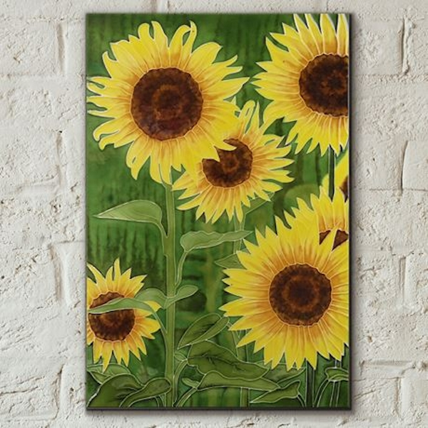 Tile 8x12 Sunflowers By K Andy Wall Art